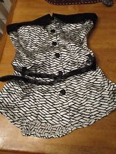 BEBE TUBE TOP STRAPLESS Blouse shirt SIZE XS  Silk/ Spandex w/ Belt