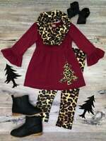 Girls, Toddler Burgundy Cheetah Winter Tree Tunic Scarf Outfit 2T 3T 4T 5 6 7 8