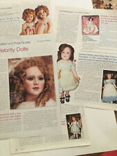 Celebrity Dolls Article~M Pickford,Shirley Temple,Twiggy,Cher,Deanna Durbin et