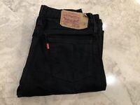 Levis 501 Men's Slim Straight Leg Black Denim Jeans Pants Size 30 x 32
