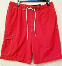 St. John Bay mens swim shorts large Red swim beach 11 inch inseam new