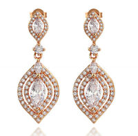 18K WHITE ROSE YELLOW GOLD GF LUXURY CT LAB DIAMOND WEDDING DANGLE DROP EARRINGS