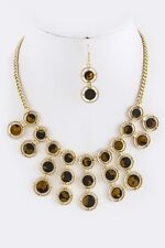 D8 Art Deco Brown Amber Gold Round Dangle Stacked Nacre Necklace Earring Set