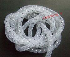 2mt calza rete tubolare in Nylon retina x bigiotteria colore bianco ,argento 8mm
