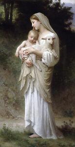 "Nice Oil painting Bouguereau - Innocence Virgin Madonna & child Christ sheep 36"""