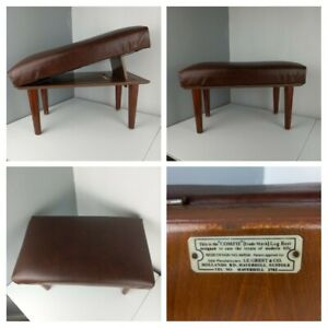VINTAGE RETRO 1950s - Adjustable Wooden Padded Footstool Foot Rest Seat Brown