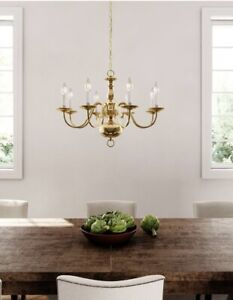 Americana 8 Light Polished Brass Traditional Chandalier Msrp$220(flaw)