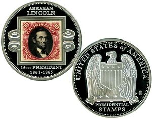 ABRAHAM LINCOLN PRESIDENTIAL STAMP COMMEMORATIVE COIN PROOF VALUE $99.95