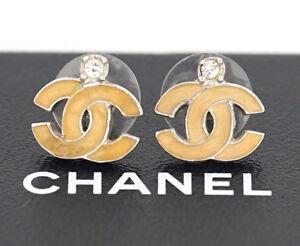 CHANEL Mini CC Logos Pink Enamel Stud Earrings Silver Tone w/BOX #2025