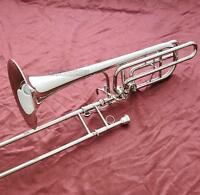 Professional Silver Double Rotor Bass Trombone Bb/F/Eb&Bb/F/D/Gb Key With Case