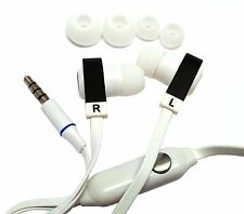 White Flat Noodle 3.5mm Earphone Headphone Earbud Headset For iPhone Samsung LG
