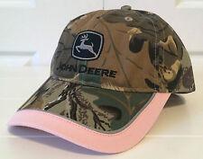 John Deere Ladies Pink Twill Camouflage Hat Cap w Vintage Logo