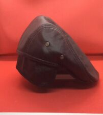 Mens 100% Cowskin Black Leather Ivy Cap Beret Newsboy Cabbie Hats With Ear Flap