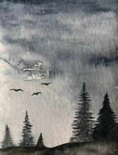 Dusk to Midnight Watercolor Painting 4.25x5.5 original Landscape Blue Art 2 of 2