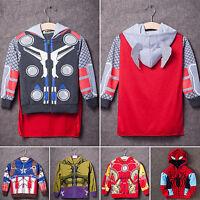 Kids Boys Superhero Hooded Hoodies Jacket Coat Halloween Party Cosplay Costumes