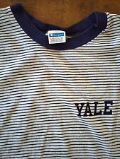 VINTAGE CHAMPION BLUE BAR YALE UNIVERSITY COLLEGE T SHIRT STRIPE MEDIUM USA MADE