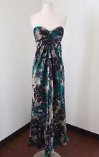 Laundry Shelli Segal Teal Purple Floral Silk Strapless Dress 4 Abstract Evenig