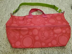 Thirty-One 31 Expand-A-Tote Day Extender Pink Circle Spirals shoulder strap