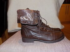 SCHUTZ combat boots  size 7 brown/gold details leather lace up brand new