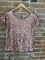 NEXT WOMENS PINK SEQUIN SHORT SLEEVE TOP SIZE: 6 BNWT RRP £20.00