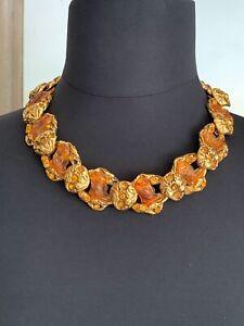 Exceptional Vintage KALINGER Couture Necklace. Resin &Crystal links -each signed