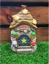 14.5cms Fairy Folklore House Thatched Roof Solar light Resin Garden Ornament