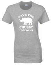 Save The Chubby Unicornios para Mujer Camiseta Divertida S-2XL Rhino Regalo