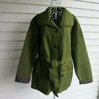 Natalie & Me Women's Quilted Jacket Size 2X Olive Green Belted Lightweight