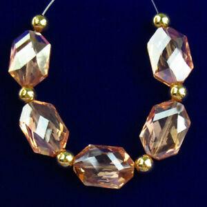5Pcs/set Faceted Pink Titanium Crystal Hexagon Pendant Bead R22034