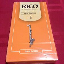 PACK OF 25 RICO BASS CLARINET REEDS #4  (4)
