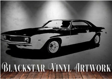 "1969 CHEVROLET CAMARO LARGE DECAL WALL ART 23"" X 52"""