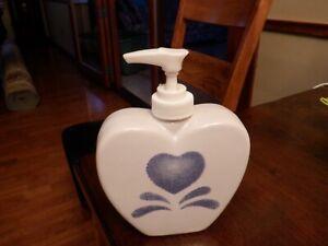 Blue Heart Glass Soap Dispenser 6 x 4 1/2 inches