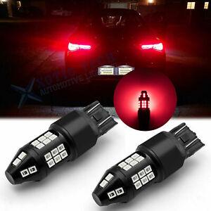 2x 7443 LED Strobe Flashing Blinking Brake Tail Light Parking Bulb Safety Alert