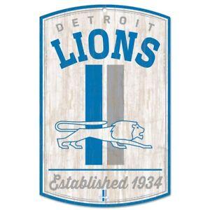 "DETROIT LIONS CLASSIC RETRO LOGO EST. 1934 WOOD SIGN 11""X17'' NEW WINCRAFT 👀"