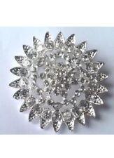 elegant brooch broach bridal cake bouquet 2 X Diamanté Silver Tone Large
