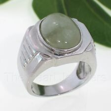 Solid 925 Sterling Silver Cabochon Forest Green Jade Men's Ring Size 10 - TPJ
