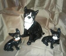 Boston Terrier Antique Ceramic Dogs Hand Painted Set of 3 Adult 2 Pups Frenchie