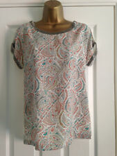 BNWT NEXT Pink Teal Paisley Floral Print Embellished Short Sleeved Top 8 Petite
