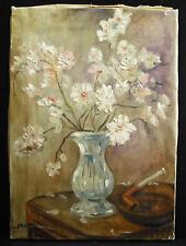 M Ratier bouquet de fleurs blanches & pipe c1920 white flowers paint still life