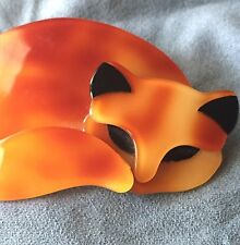 LEA STEIN PARIS CAT PIN Sleeping Curled Orange Brooch Gomina French Vintage?