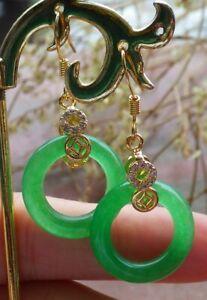 Yellow Gold Plate Green JADE Earring Earrings Circle Diamond Imitation 耳环 323841