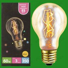 2x 60W Antique Vintage Gold GLS Dimmable Light Bulbs Edison Screw ES E27 Lamps