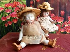 Pair Antique German Bisque Miniature Dollhouse Big Little Sister Dolls Tiny Hats
