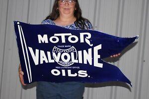 """Large Valvoline Motor Oil Gas Station 2 Sided 35"""" Porcelain Metal Flange Sign"""