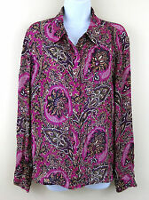 Oscar de La Renta Size 14 Blouse Paisley Print 100% SILK Button Down Shirt Top