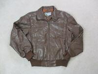VINTAGE Members Only Jacket Adult Medium Brown Leather Full Zip Coat Mens 80s *
