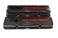 Chevrolet SBC BLACK Steel STOCK Valve Covers w/ RED Chevrolet Logo 58-86 NEW