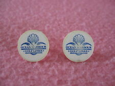 2 White Plastic Ocean Harbour Golf Links Golf Ball Markers Calabash, NC One Size