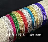 100pcs Color Mix Charm Bangles Bracelets Wholesale Fashion Jewelry Job Lots