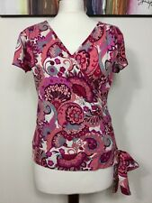 PHASE EIGHT STRETCHY PINK VINTAGE RETRO FLORAL PRINT WRAP STYLE TIE TOP SIZE 16